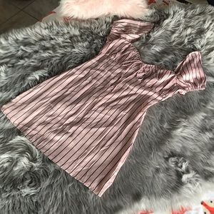 Lioness Satin Black And Pink Striped Puff Sleeve